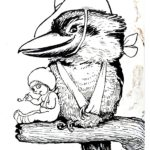 Another of May's iconic war time images paired a kookaburra in a slouch hat with a gumnut baby showing them as Australian soldiers bearing the marks of war, both with slings. The design was accompanied by the slogan ' Are we downhearted?' which was in reference to another war time song popular with the Anzacs. It was reported in a ' letter from the front' that 'as the wounded were being taken back to hospital ships they passed troops landing, and the wounded men shouted out as they passed the boats,
