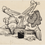 MAY GIBBS, PEN & INK DRAWING, FROM ILLUSTRATIONS FOR NEWSPAPER COLUMN 'GUMNUT GOSSIP', PXD 304 / VOL. 9 / 821