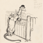 MAY GIBBS, PEN & INK DRAWING, FROM ILLUSTRATIONS FOR NEWSPAPER COLUMN 'GUMNUT GOSSIP', PXD 304 / VOL. 9 / 988<br /> Gumnut Gossip' was published in the 'Women's Budget' from 1930 until 1935.