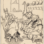 MAY GIBBS, PEN & INK DRAWING, FROM ILLUSTRATIONS FOR NEWSPAPER COLUMN 'GUMNUT GOSSIP', PXD 304 / VOL. 9 / 1021<br /> The Daily Bark', a Gumnut Town newspaper, first appeared in 'Snugglepot and Cuddlepie' in 1918. May often adapted ideas from her earlier works.