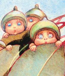 Gumnut babies hiding in a leave