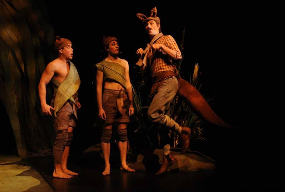 Cuddlepie (Kirk Page), Snugglepot (Jacob Warner) and Kangaroo Cabbie (Christopher Tomkinson)