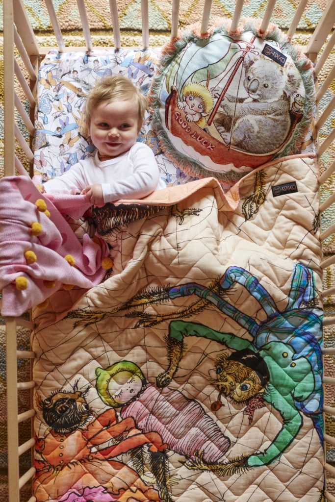 May Gibbs x Kip & Co limited edition collection - All Wrapped Up Cot Quilt