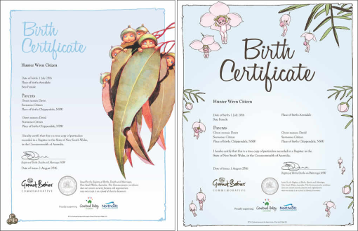 May Gibbs Gumnut Babies commemorative birth certificates - May Gibbs