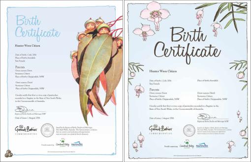 May Gibbs Gumnut Babies commemorative birth certificates