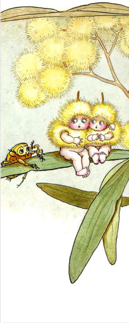 May Gibbs Bookmark - Wattle Babies on leaf