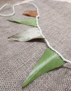 picture of bunting made from gum leaves