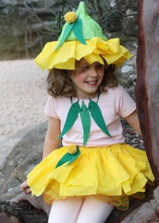 Girl Dressed In Homemade Costume As A Gumnut Baby