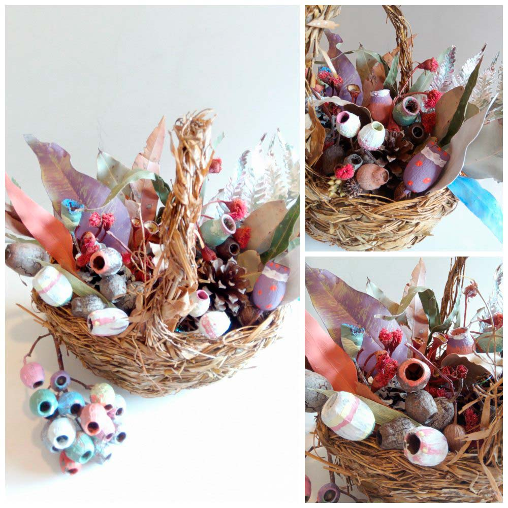 Easter basket craft table decoration May Gibbs gum nuts