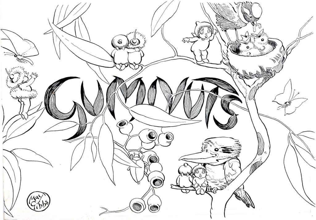 Gumnuts colouring page