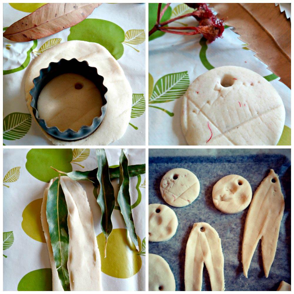 snugglepot and cuddlepie pendant salt dough leaves