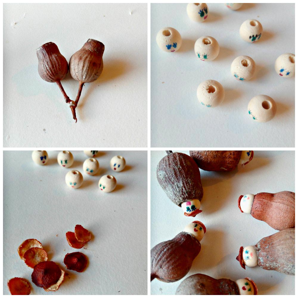 snugglepot and cuddlepie pendants gumnuts beads
