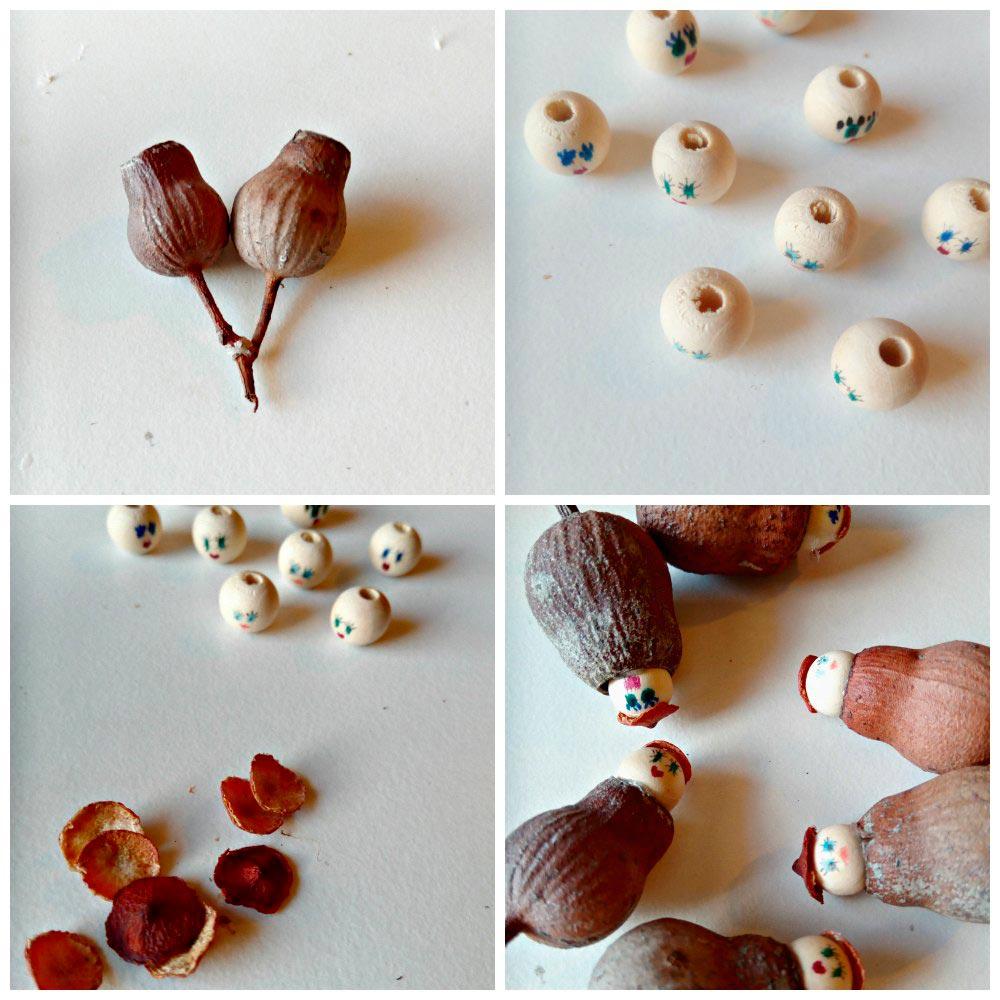 snugglepot and cuddlepie pendants gumnuts beads