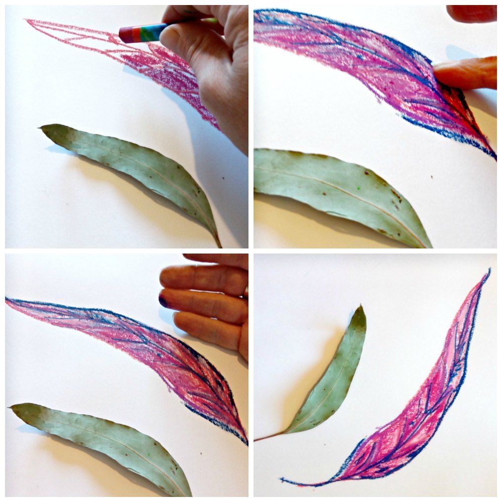 oil pastel craft project bush leaves