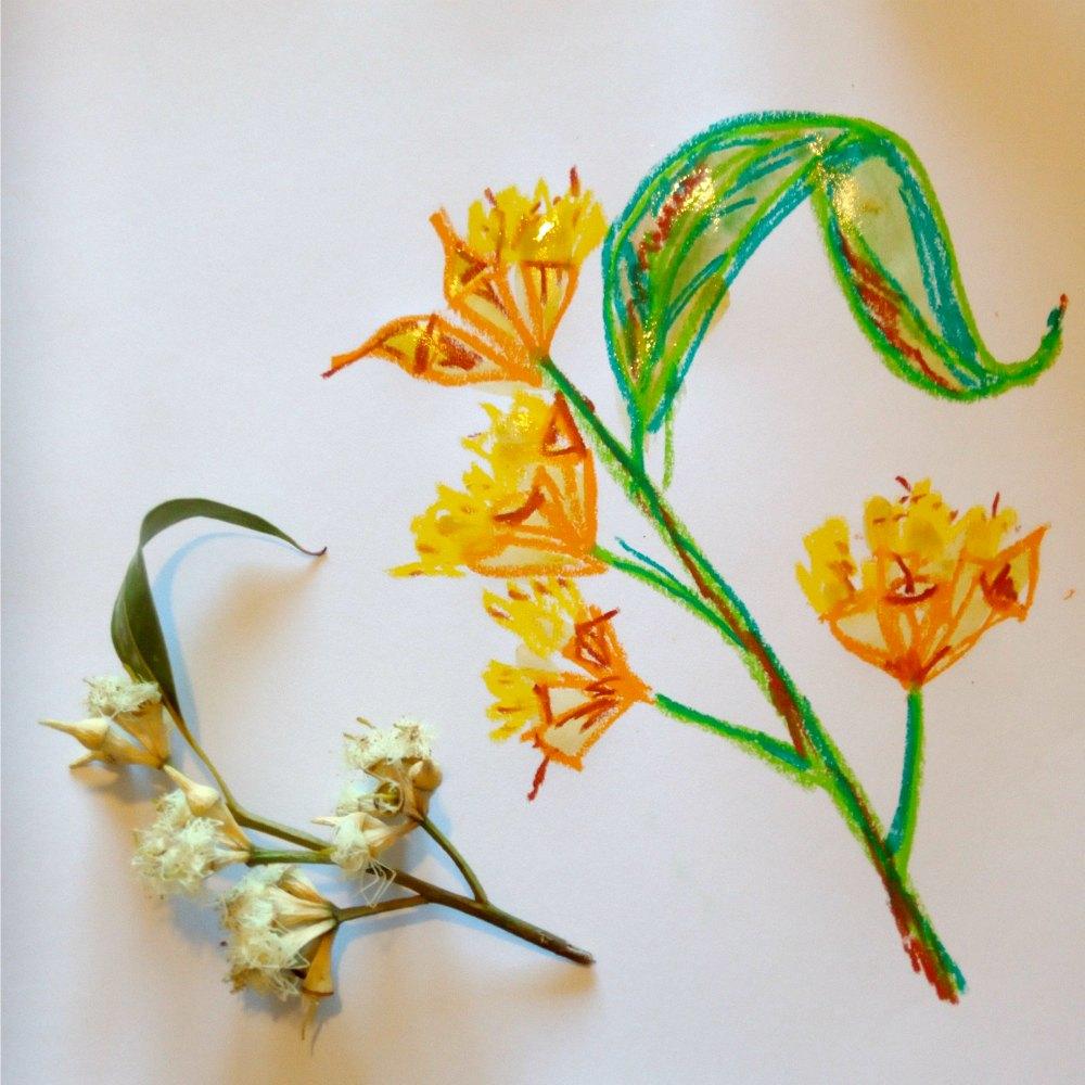 oil pastel craft bush leaf