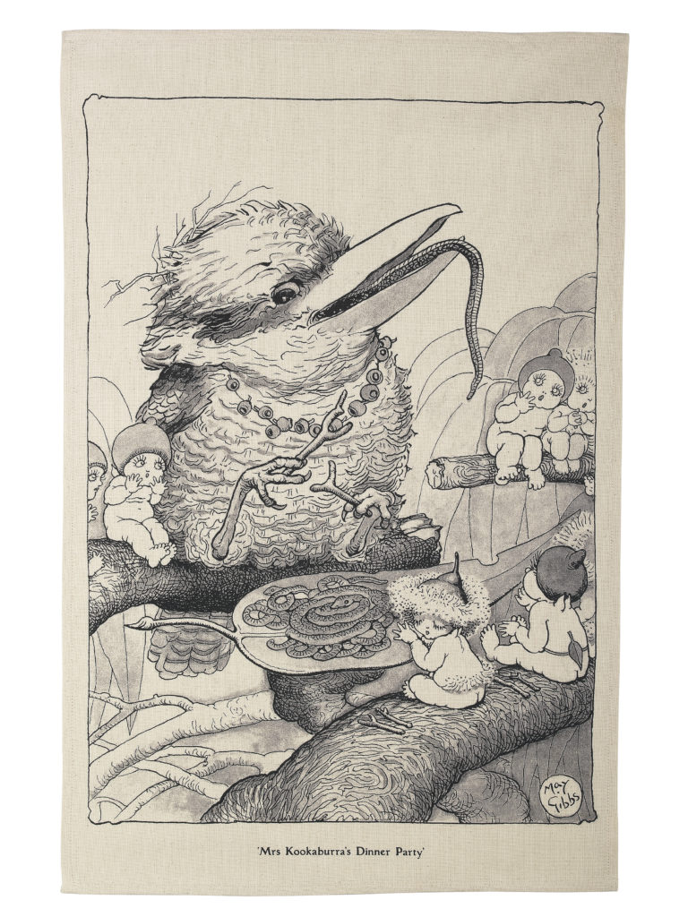 May Gibbs by Ecology Limited Edition Tea Towel Mrs Kookaburra's Dinner Party
