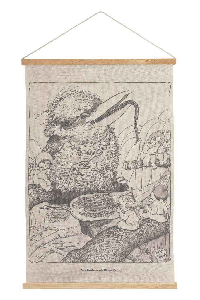 May Gibbs by Ecology Canvas Wall Hanging - Mrs Kookaburra's Dinner Party