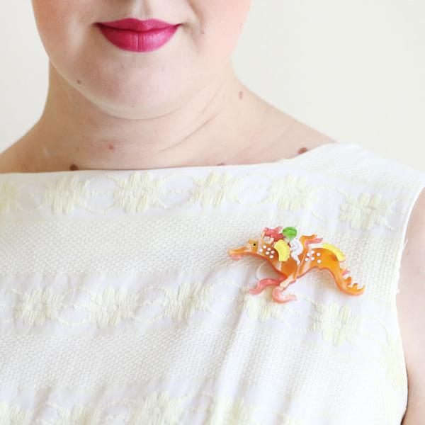 Erstwilder x May Gibbs Leafy and the Sea Dragon brooch model
