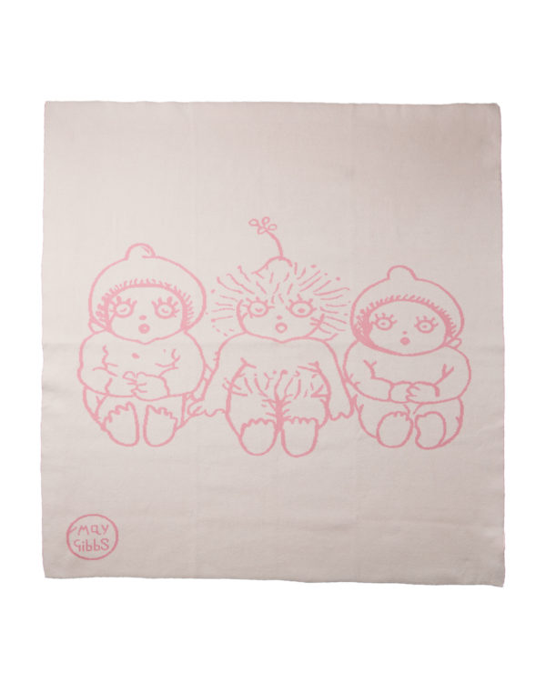 May Gibbs x Walnut Melbourne Bowie Knit Blanket Bush Baby Pink