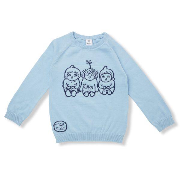 May Gibbs x Walnut Melbourne Cuddle Knit Jumper Bush Baby Blue