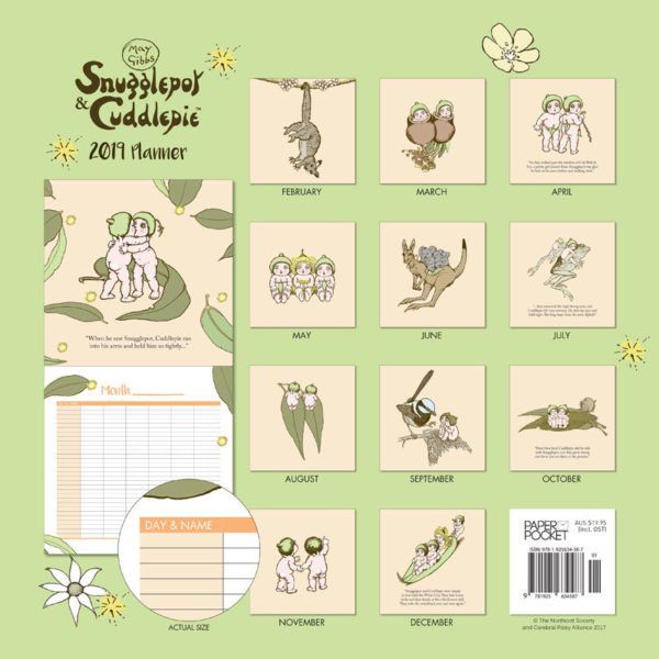 May GIbbs Snugglepot & Cuddlepie 2019 Daily Wall Planner back