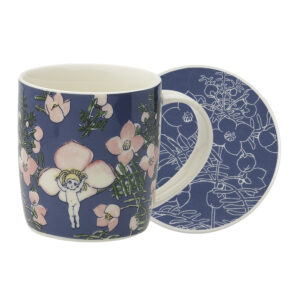 May Gibbs by Ecology Mug & Coaster Set Flower Babies Blue