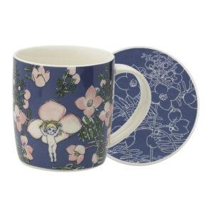 May Gibbs by Ecology Mug & Coaster Set Flower Babies Blue