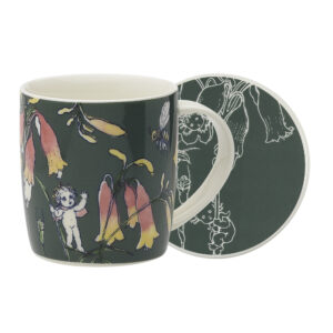 May Gibbs by Ecology Mug & Coaster Set Flower Babies Dark Green
