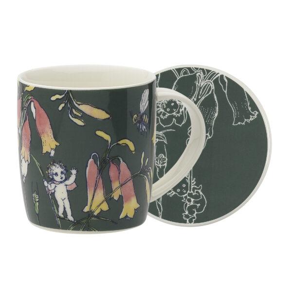 May Gibbs by Ecology Mug & Coaster Set Flower Babies Dark Green
