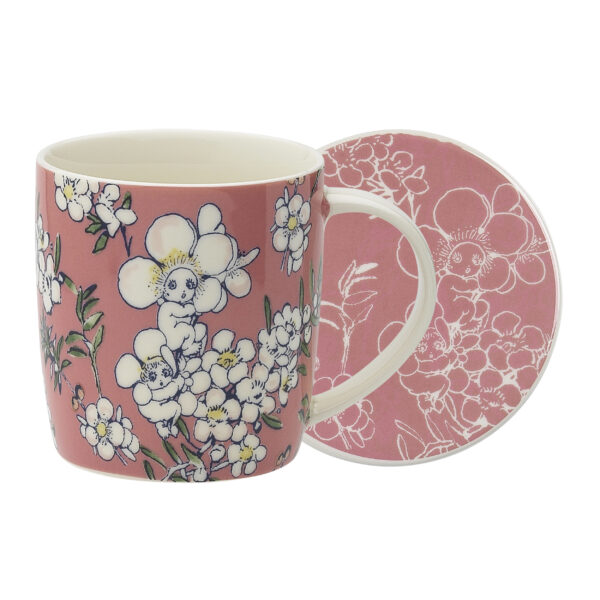 May Gibbs by Ecology Mug & Coaster Set Flower Babies Pink