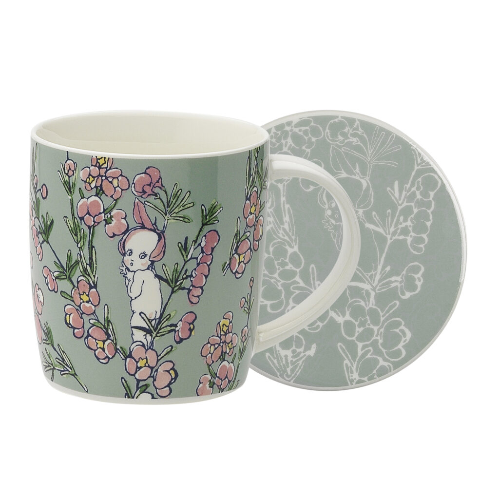 May Gibbs by Ecology Mug & Coaster Set Flower Babies Light Green