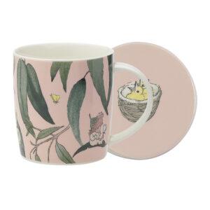 May Gibbs by Ecology Mug & Coaster Set Gumnut Babies Pink