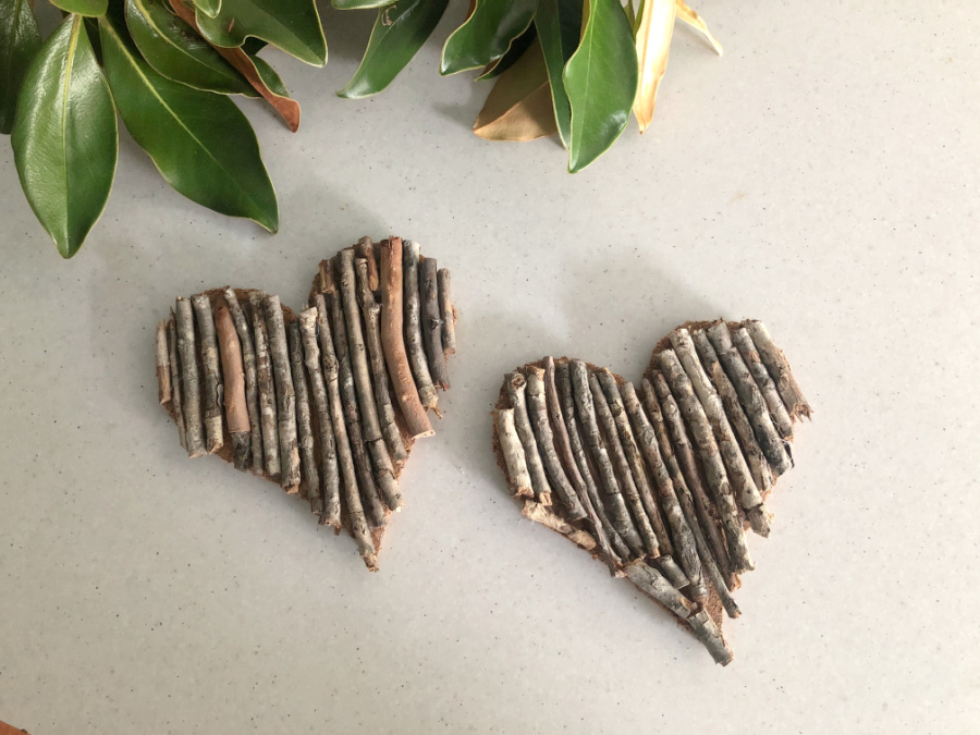 Bush Stick Heart Coasters for Valentines Day