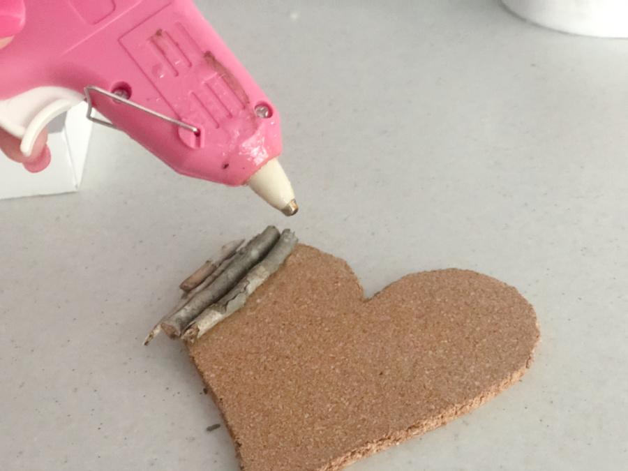 Valentines Day Bush Stick Heart Coaster Step 4