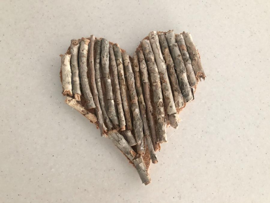 Valentines Day Bush Stick Heart Coaster Step 5